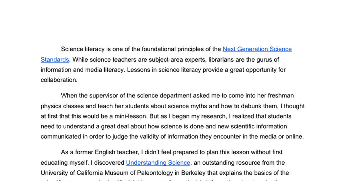 Science Literacy and the Library
