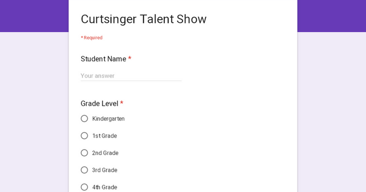 Curtsinger Talent Show