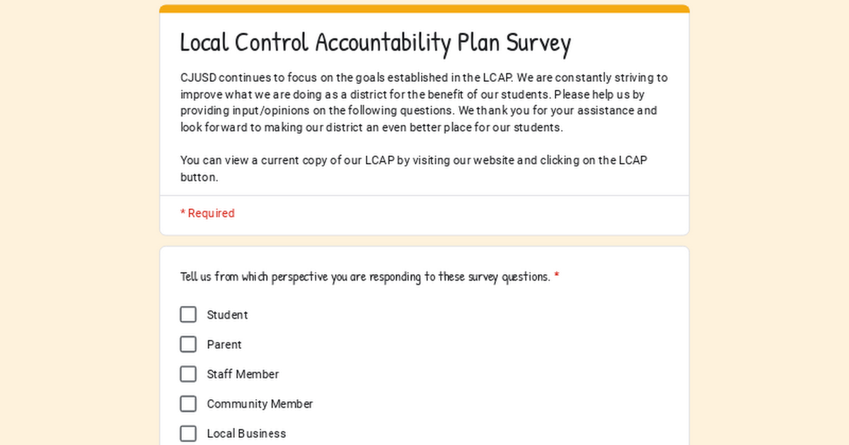 Local Control Accountability Plan Survey
