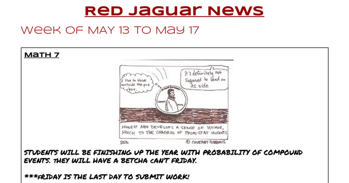 Jags - Week of 5/13 to 5/17