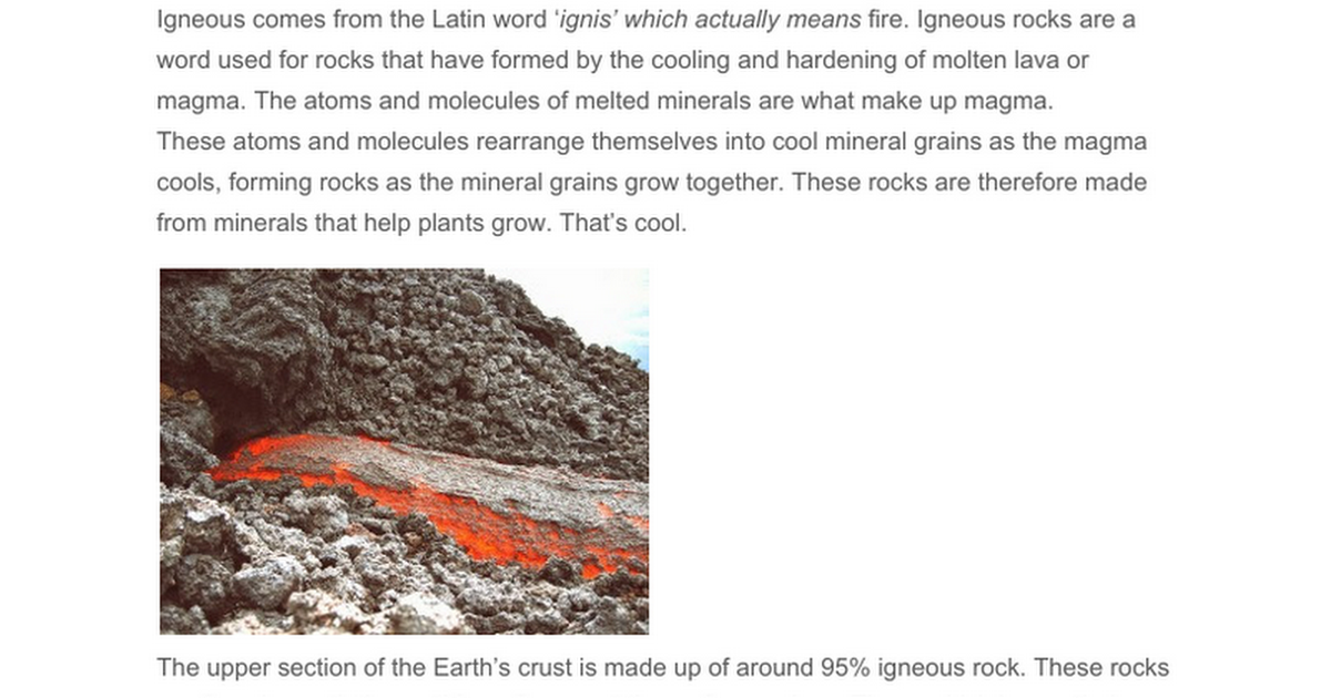 Igneous Rocks Facts
