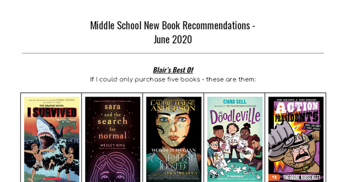6-8 New Book Recommendations June 2020