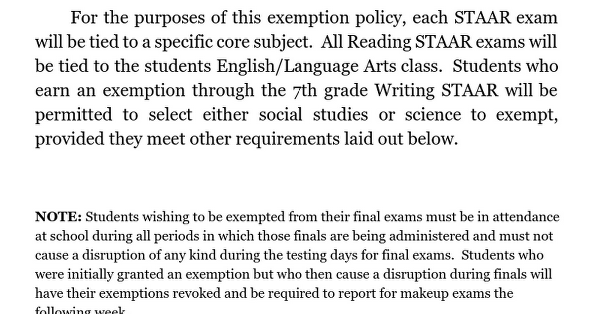 STEAM Spring Semester Exam Exemption Policy
