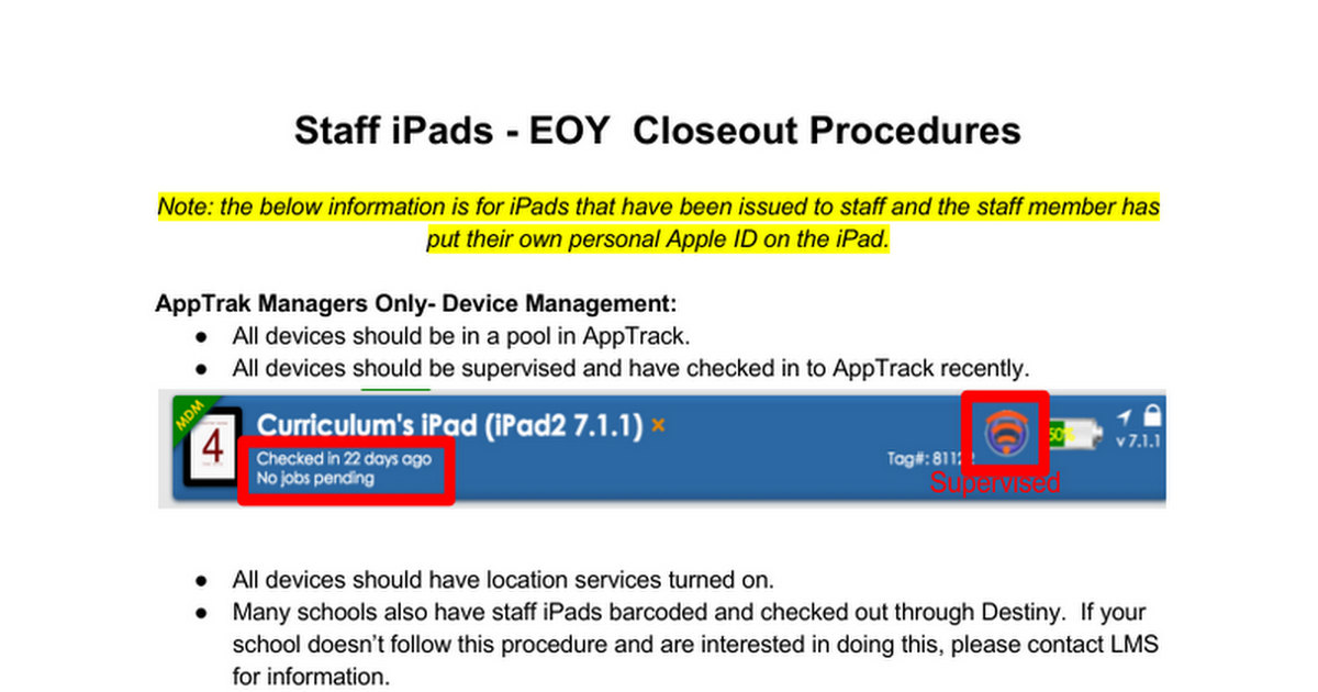 iPad End of Year Closeout Procedures