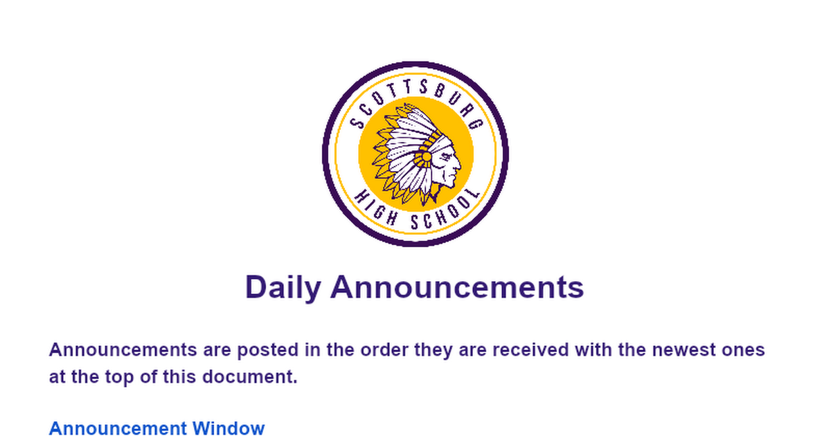 Daily Announcements @SHS