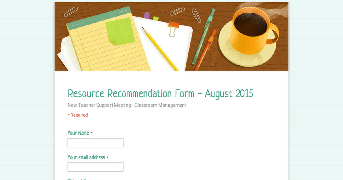Resource Recommendation Form - August 2015