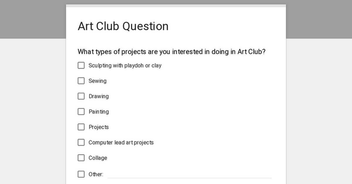 Art Club Question