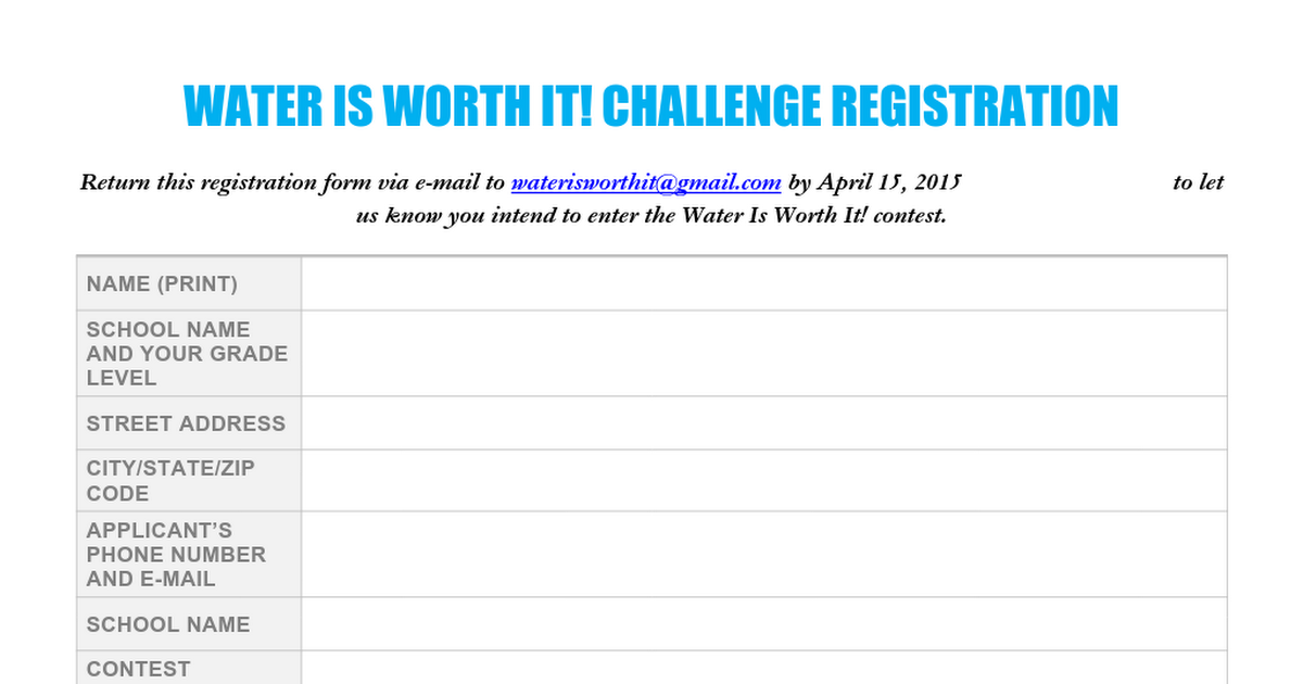 Water is Worth It Registration Form.docx