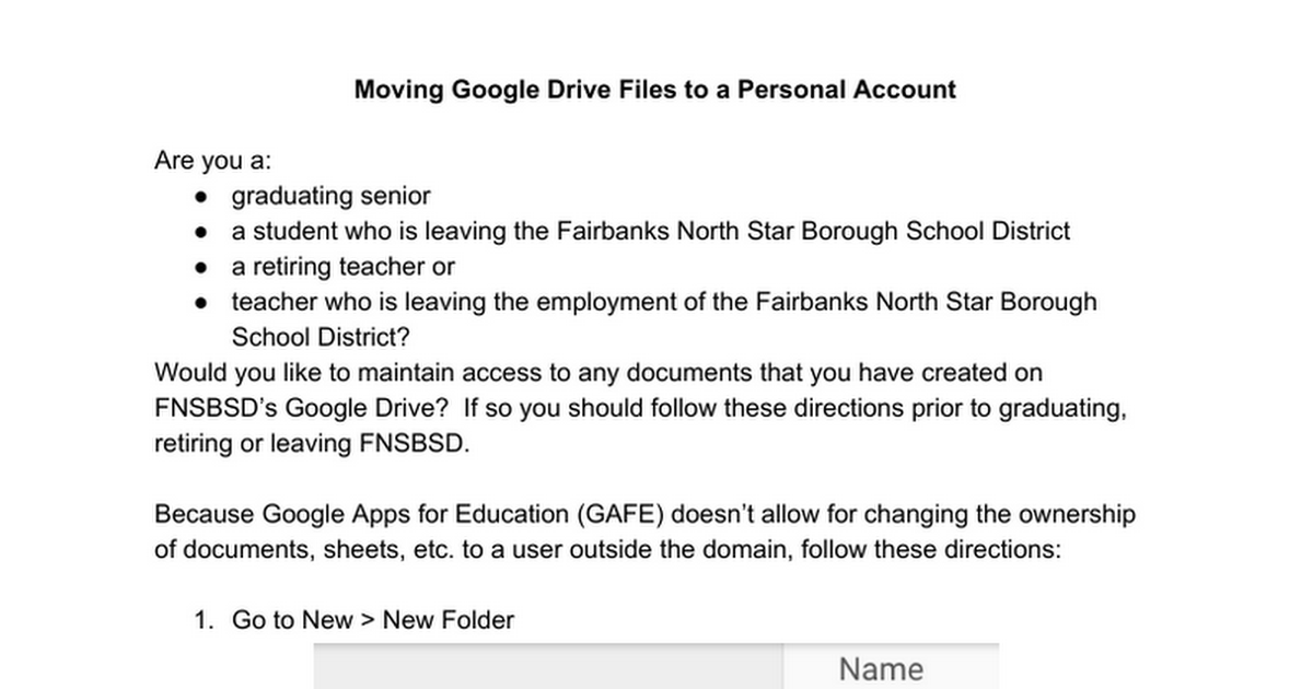 Google Drive - How to Move Documents to Your Personal Account