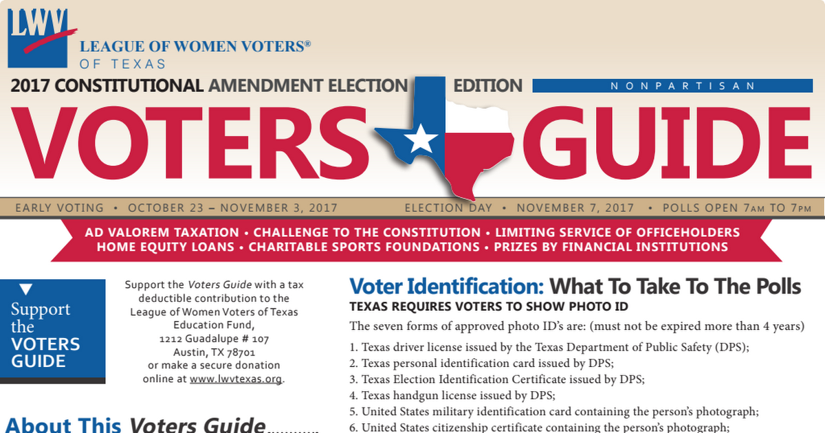 League of Women Voters Texas Voting Guide