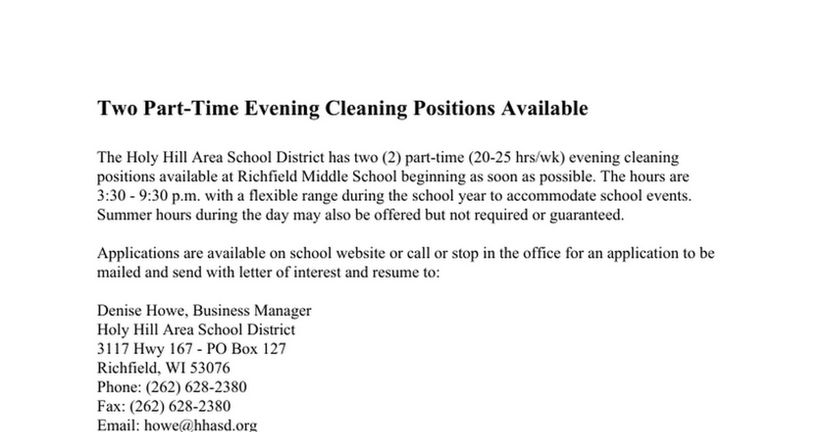 Evening Custodial/Cleaning Positions