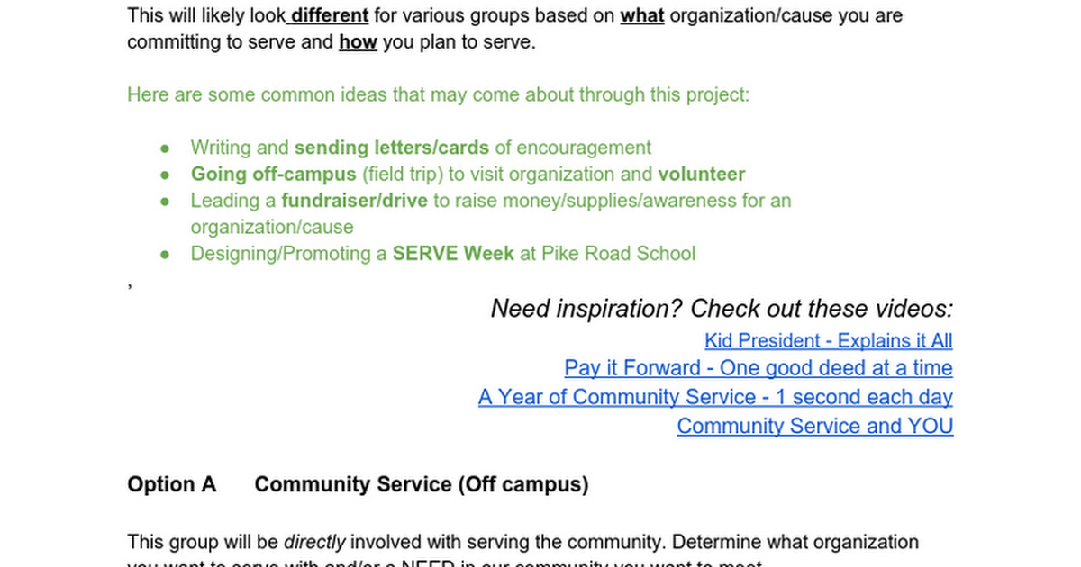 Community Service Opportunity Project