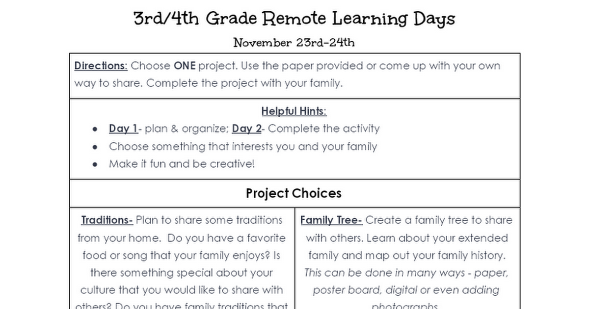 4th Grade & 3rd/4th Combined Class Remote Learning Plans