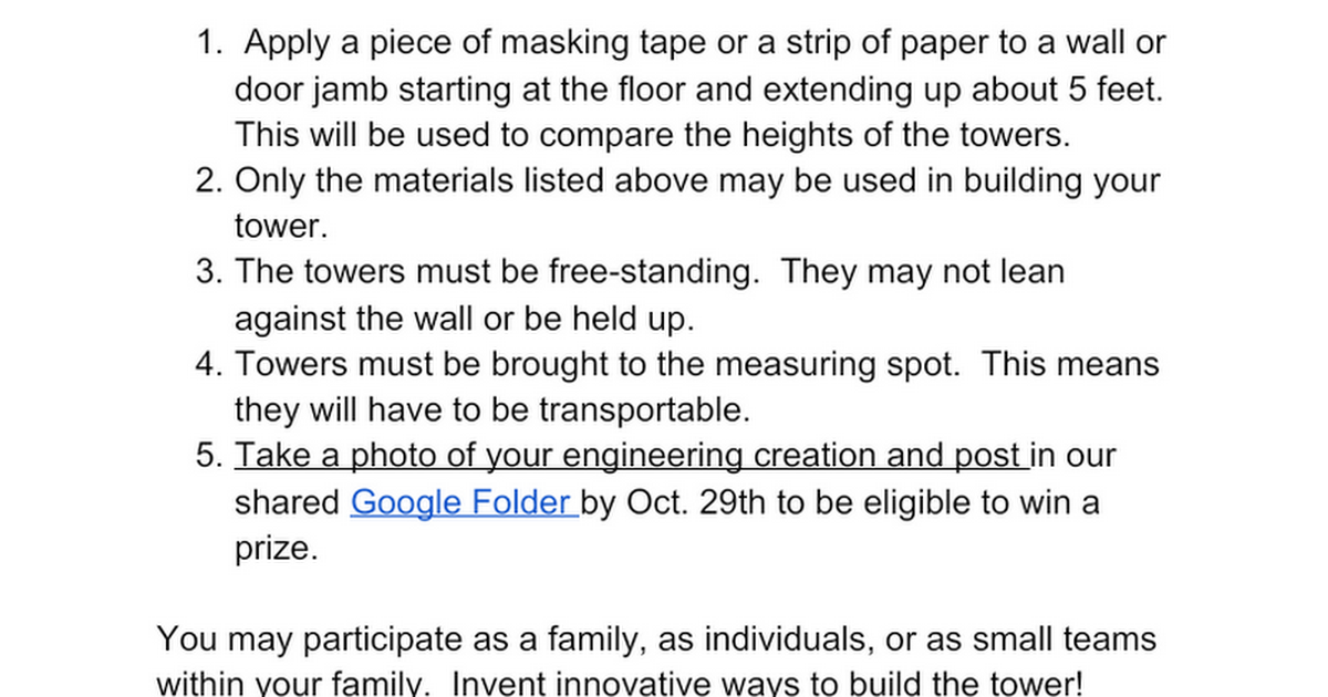 Family STEM Project - October 2020