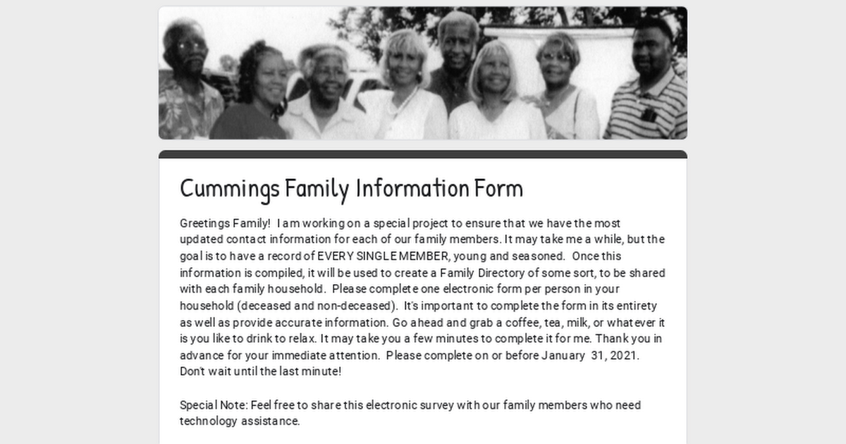 Cummings Family Information Form