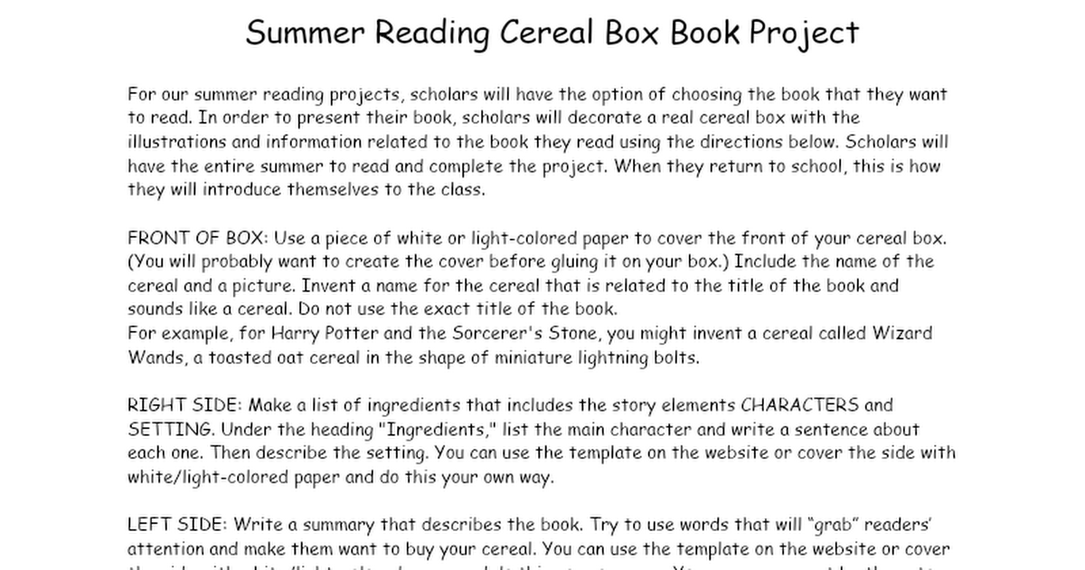 Summer Cereal Box Book Project
