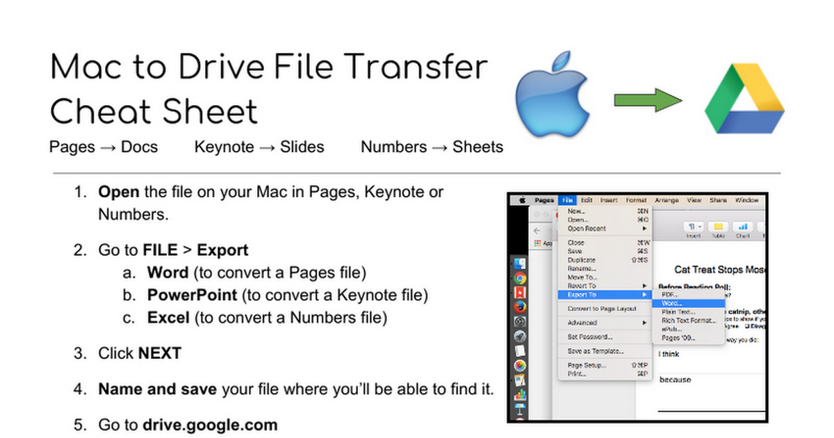 Mac to Drive File Transfer Cheat Sheet