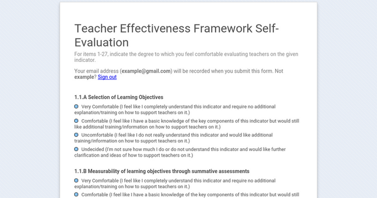 Teacher Effectiveness Framework Self-Evaluation