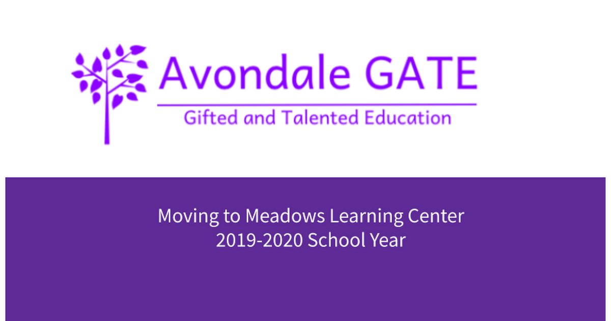 Avondale GATE move to meadows for current families