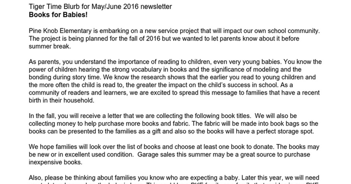 Service Learning Project - Books for Babies!