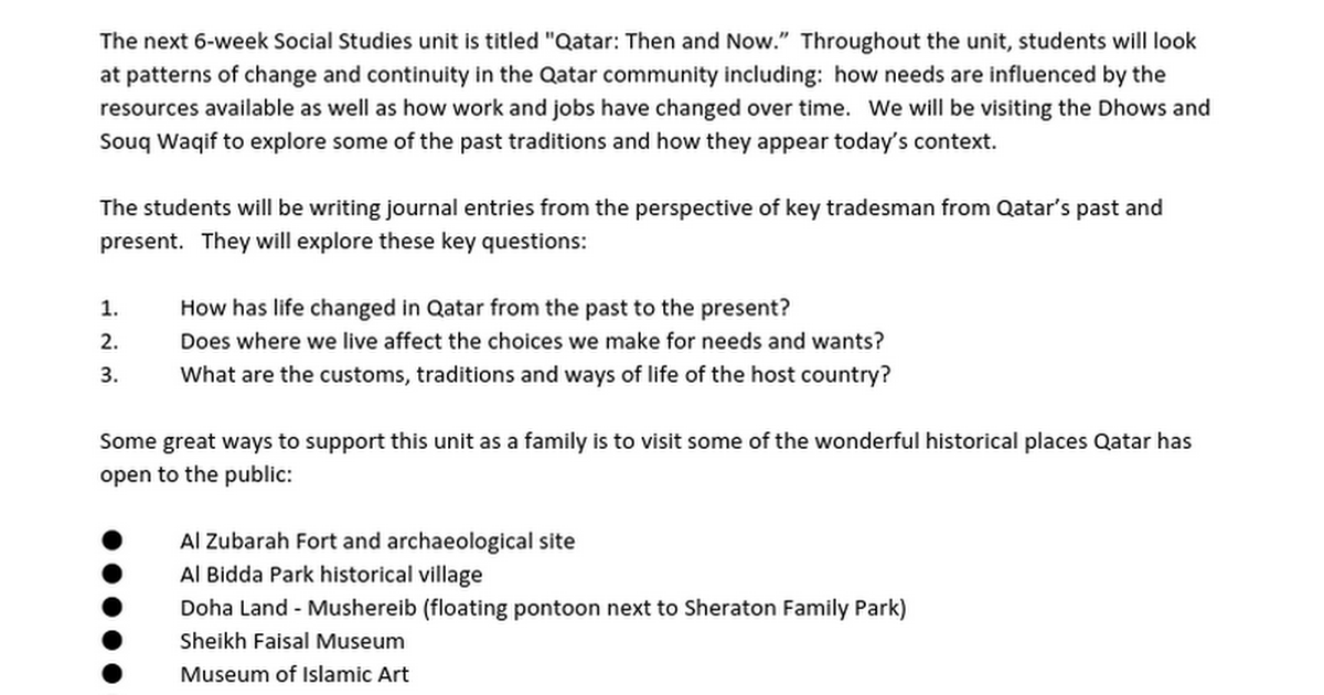 G2 Qatar: Then and Now Unit Parent Letter 2015-16