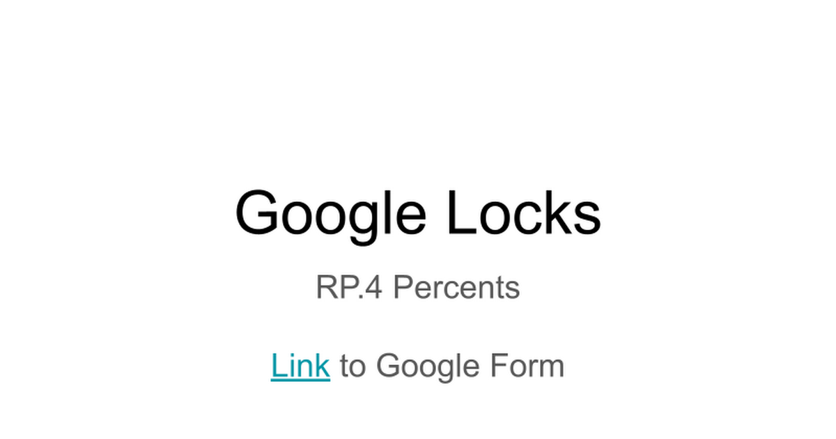 Google Locks - RP.3c Percents