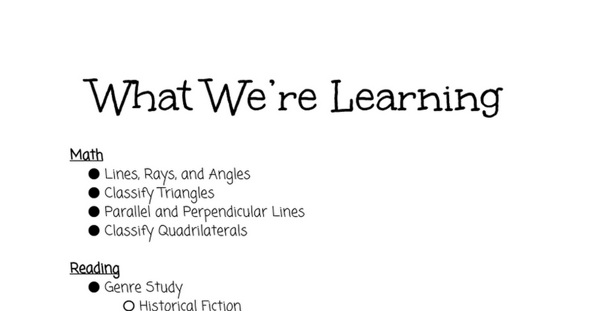 What We're Learning 3/21-3/25