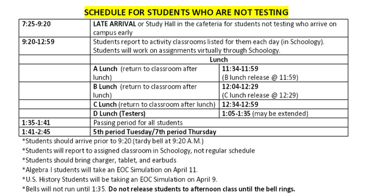 BELL SCHEDULES FOR APRIL EOC EXAMS