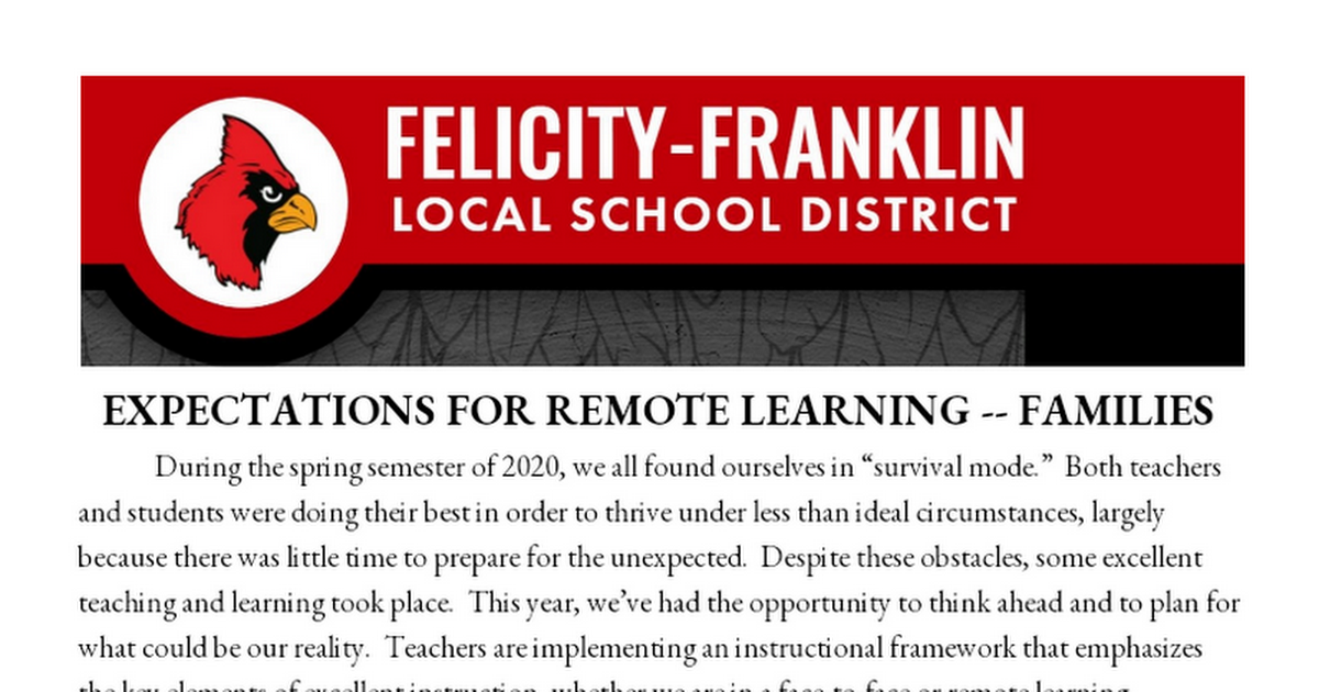 FFLSD EXPECTATIONS FOR REMOTE LEARNING -- FAMILIES