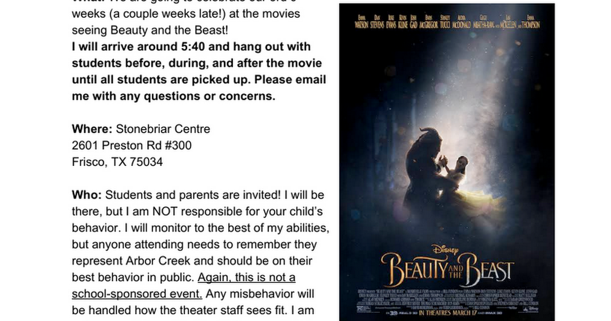 Movie Night Information