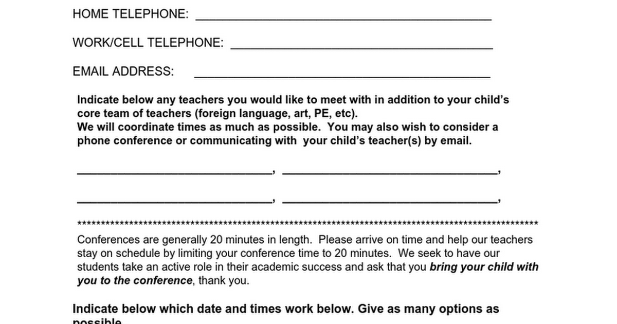 Parent Conference Fall Form