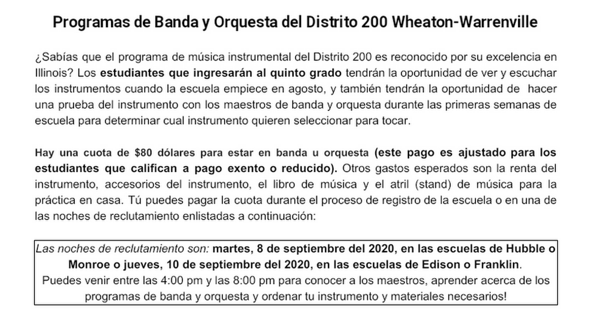 D200 Band and Orchestra Registration Flyer Spanish/English