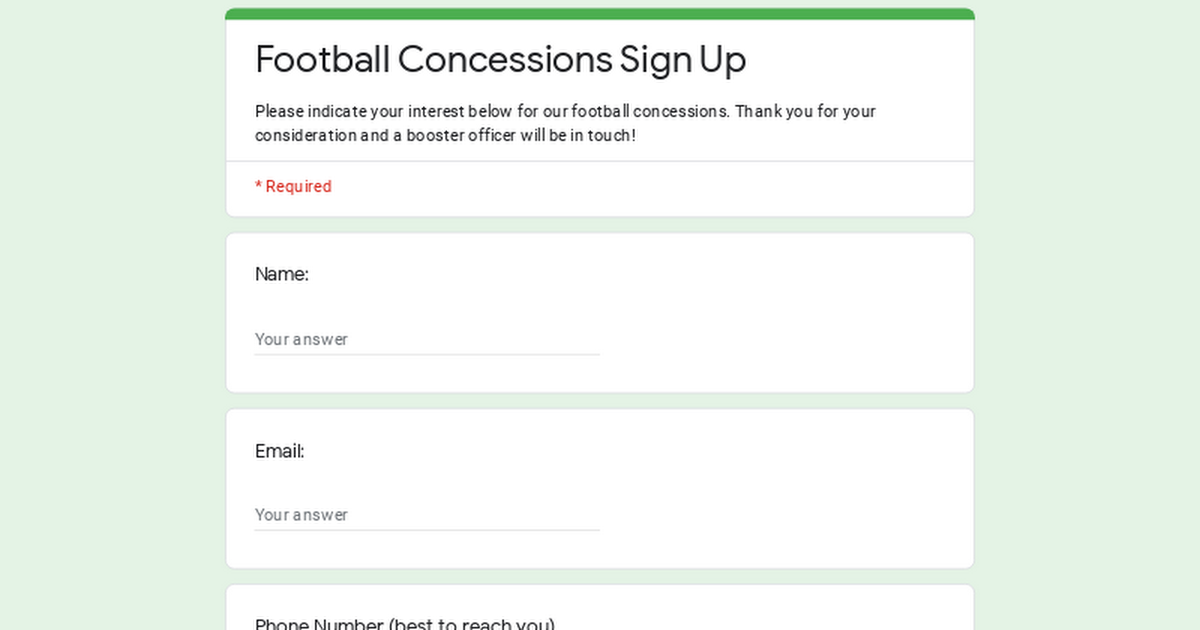 Football Concessions Sign Up
