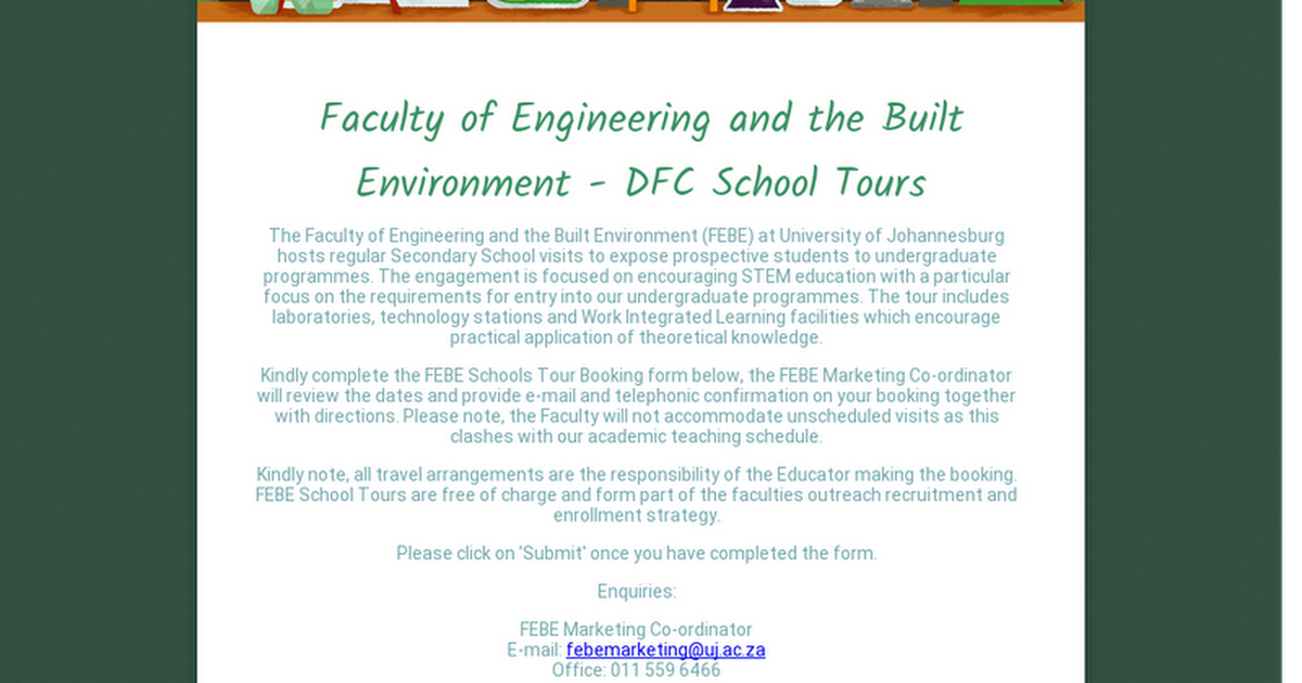 Faculty of Engineering and the Built Environment - DFC School Tours