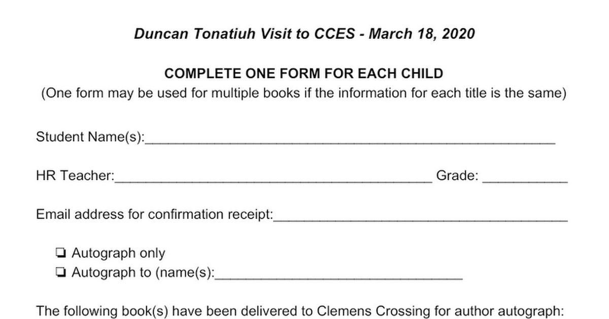 CCES Duncan Tonatiuh books for autographs