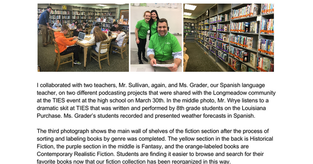 WMS Library newsletter - April 2017