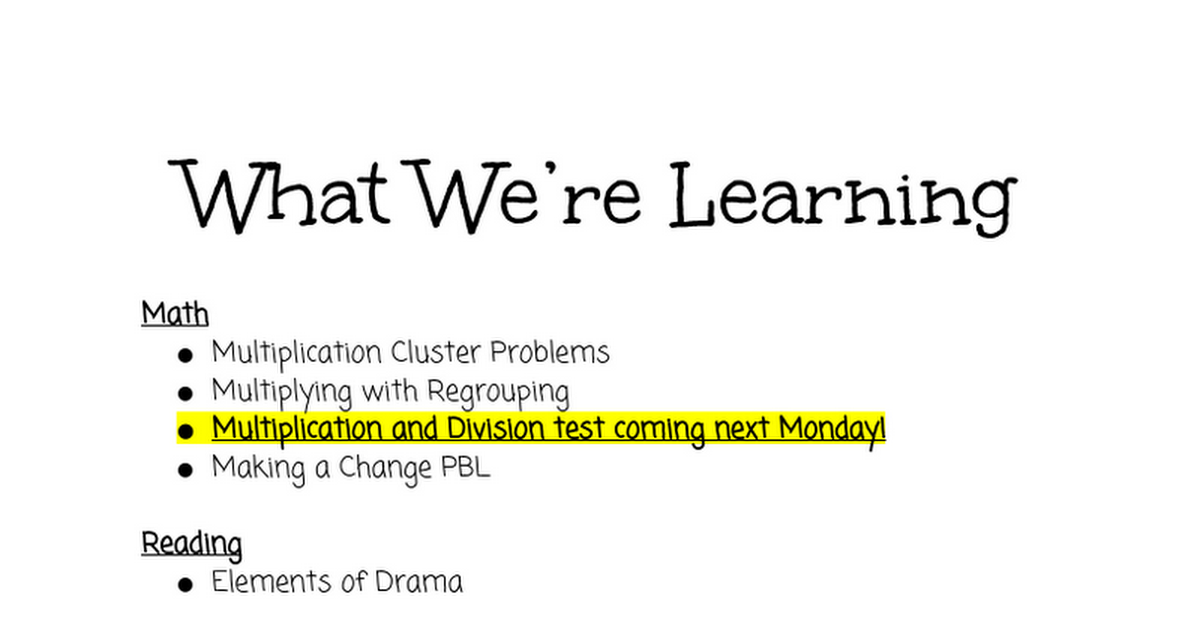 What We're Learning 12/7-12/11