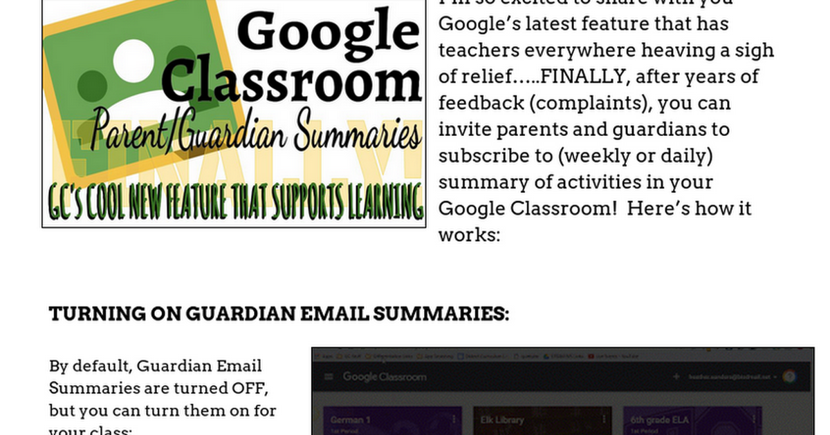 Google Classroom - Parent/Guardian Summaries