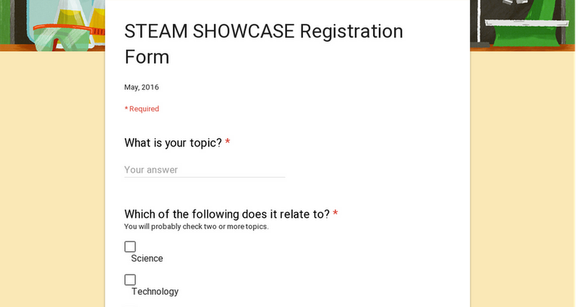STEAM SHOWCASE Registration Form
