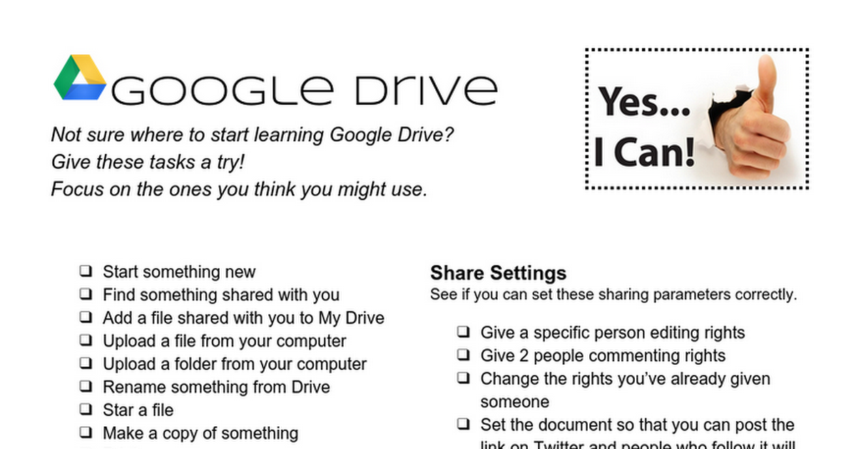 Google Drive - Things To Try Checklist