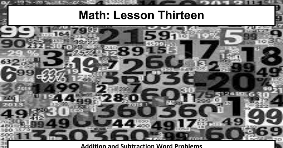 13  Addition and Subtraction Word Problems