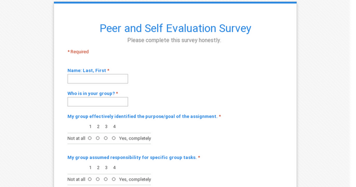 Peer and Self Evaluation Survey