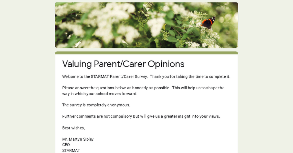 Valuing Parent/Carer Opinions