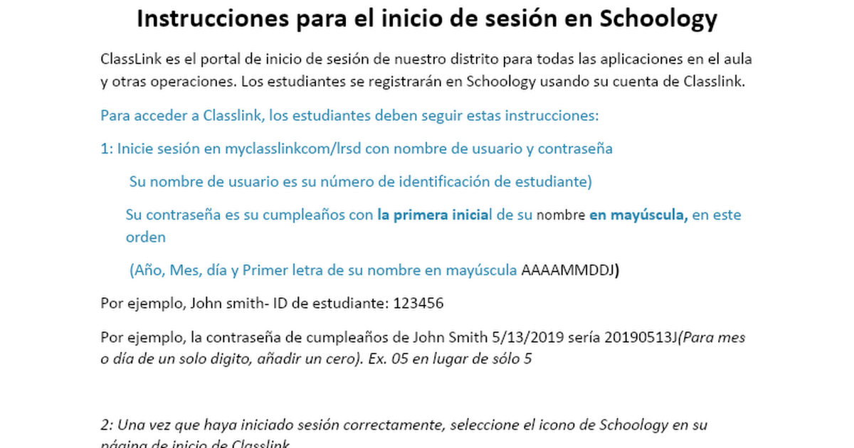 Espanol Student Log in directions for Schoology