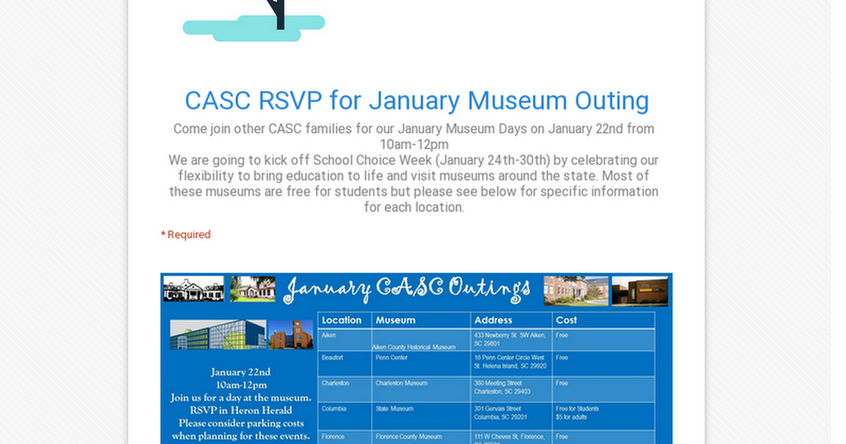 CASC RSVP for January Museum Outing