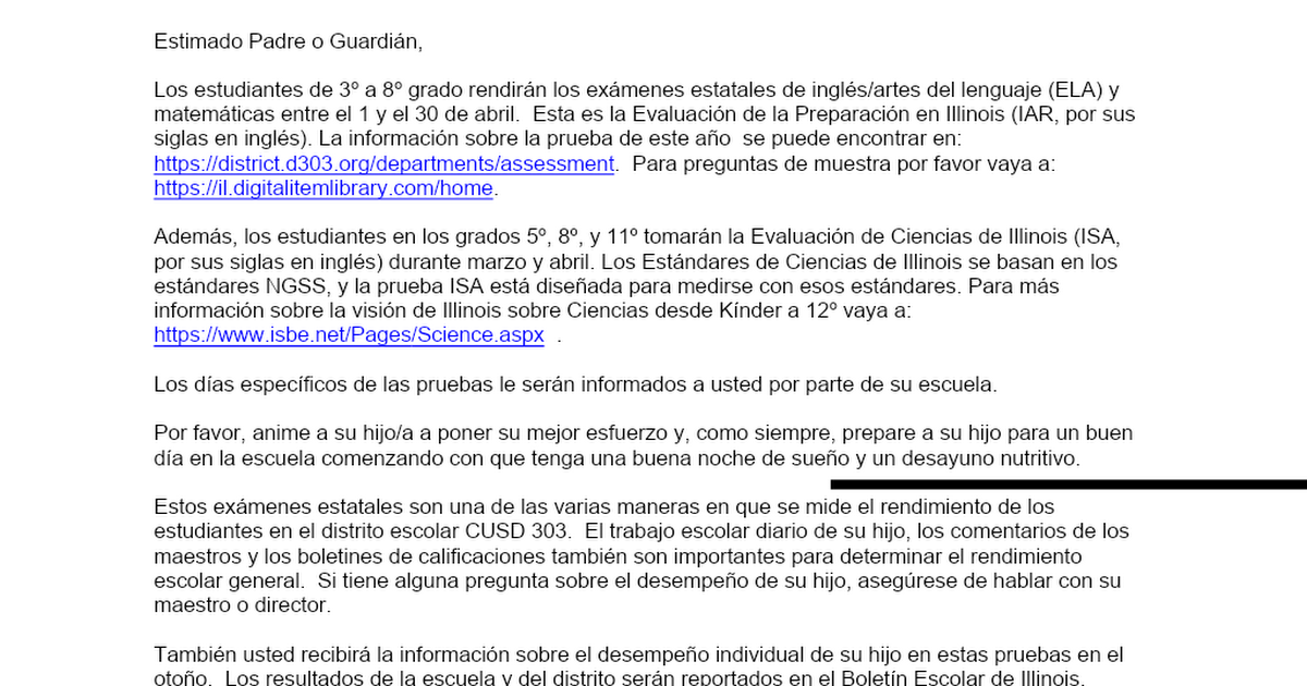 Parent Letter - Upcoming IAR 2020 (Spanish).docx