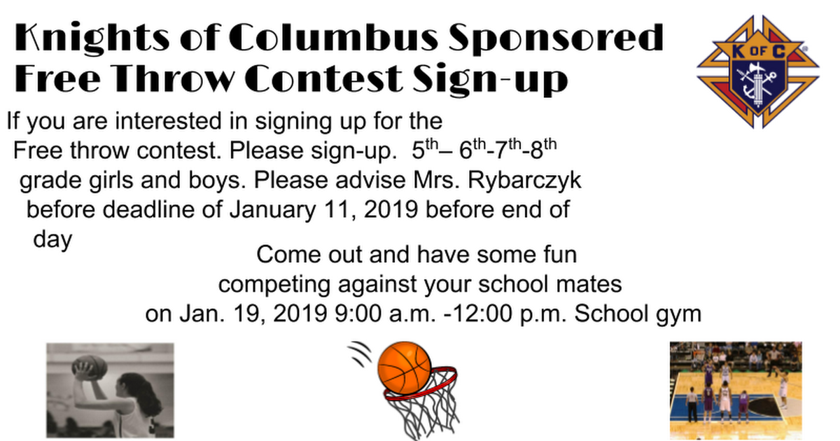 Knights of Columbus St. Joes Free  Throw Contest