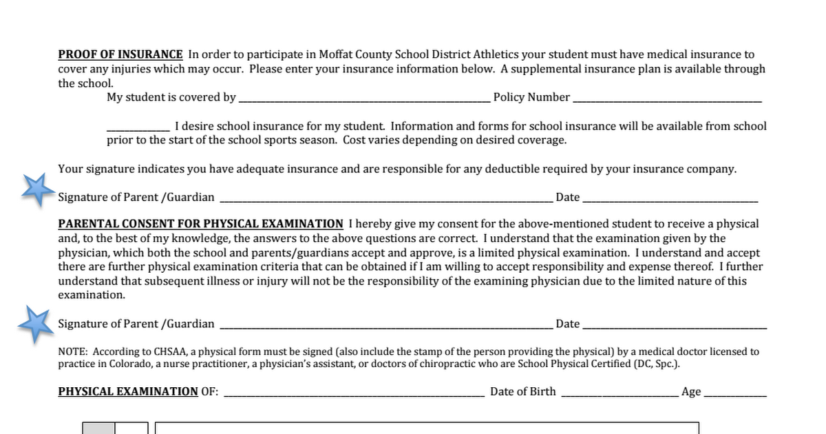 CMS Sports Physical Form Page 2