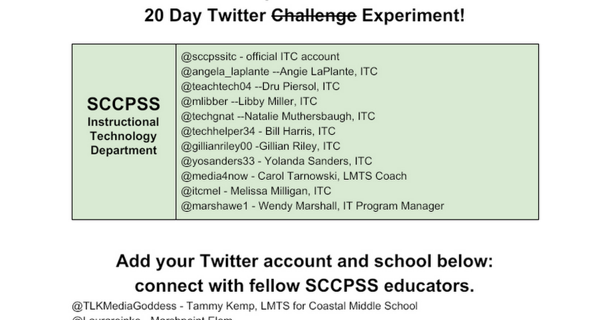 Join the SCCPSS Twitter Tribe - add your account info here!
