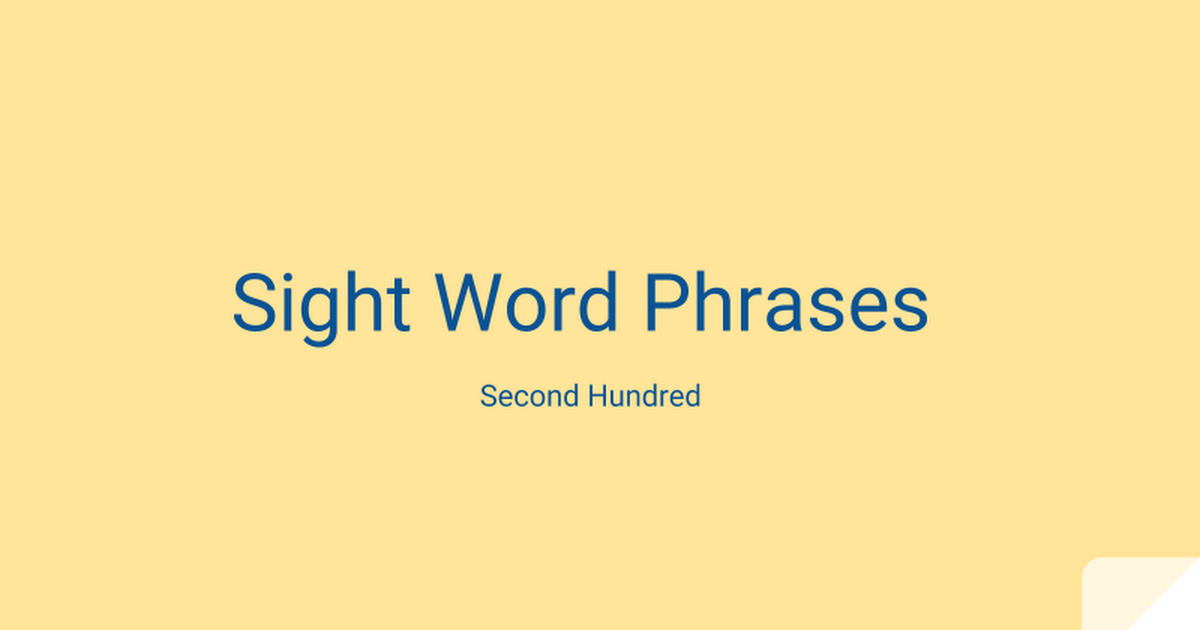 Sight Word Phrases - second hundred